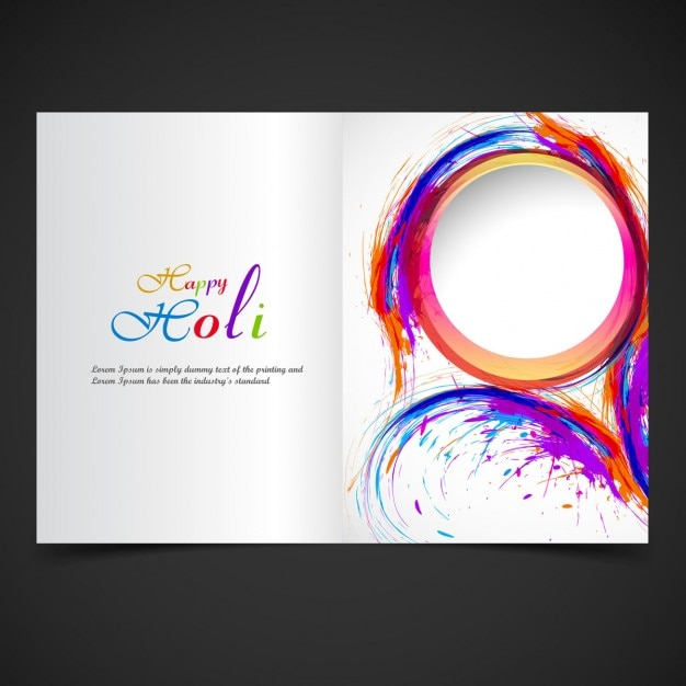 colorful holi brochure template free vector