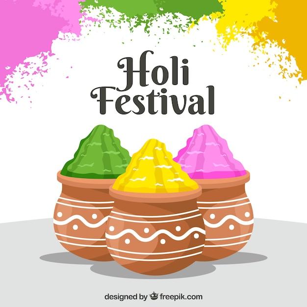 Красочный фон фестиваля холи в плоском стиле Бесплатные векторы