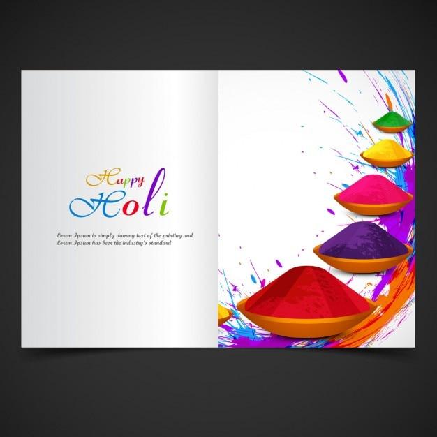 Colorful holi festival brochure design vector free download for Festival brochure design