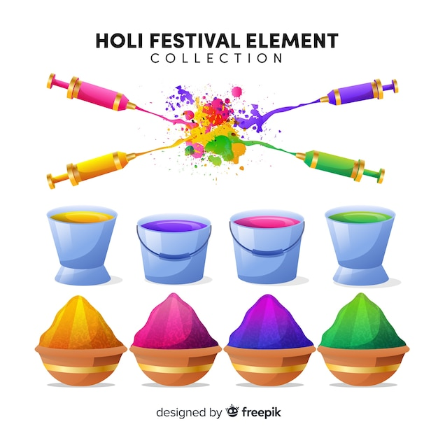 Colorful holi festival element set Free Vector