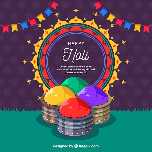 Colorful holi festival gulal background Free Vector