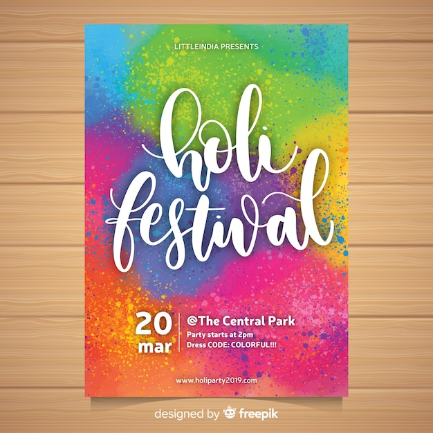 Colorful holi festival party poster Free Vector