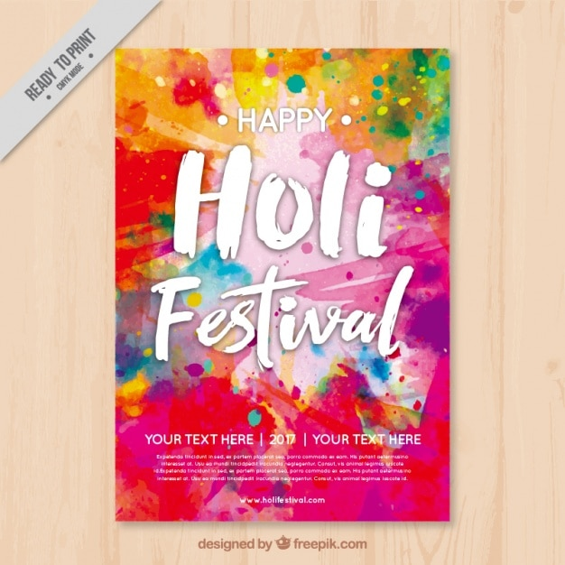 colorful holi flyer template vector