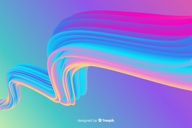 Colorful holographic brush stroke background Free Vector