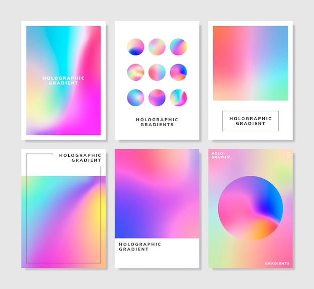 Colorful holographic gradient background design set Free Vector
