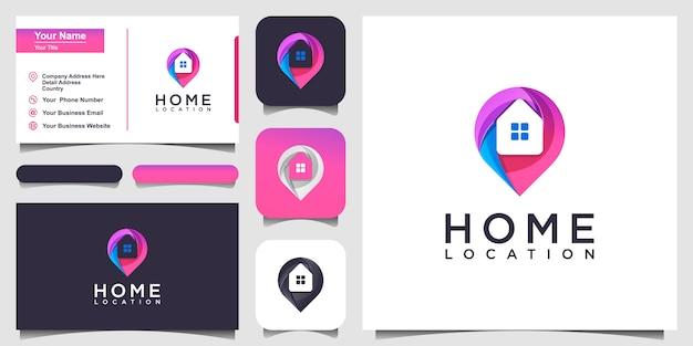 Colorful home location logo design inspiration. logo design and business card Premium Vector