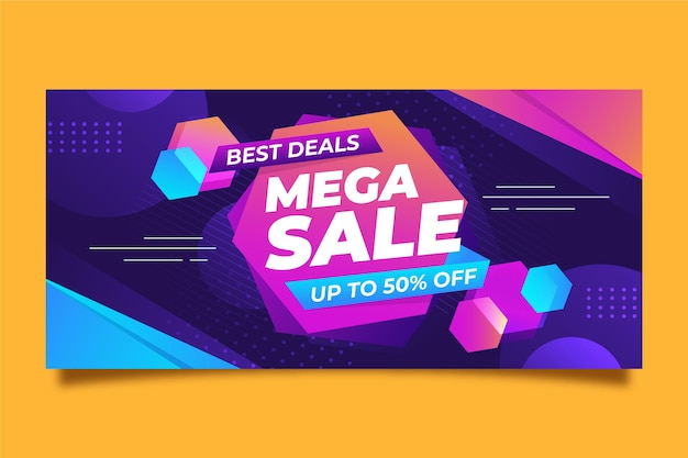 Colorful horizontal banner for sale Free Vector