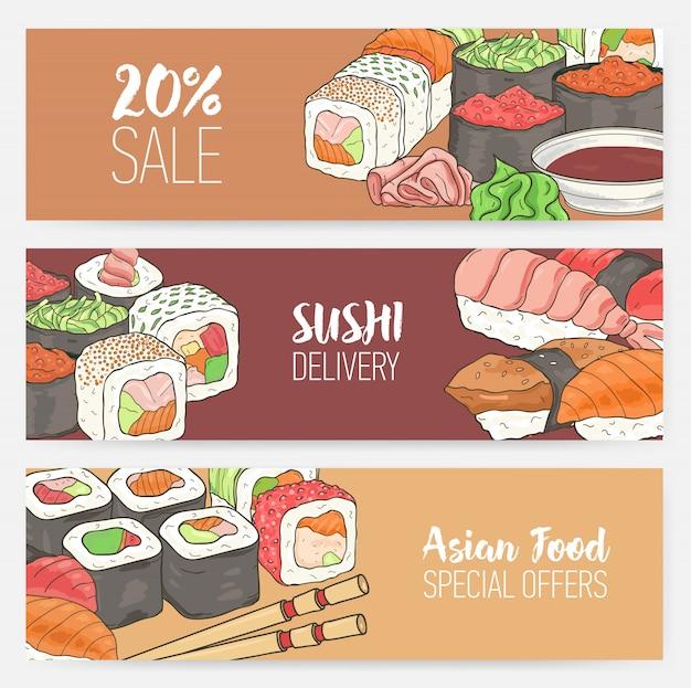 手描きの日本の寿司、ロール、刺身わさび、箸でカラフルな水平バナーテンプレート。 Premiumベクター