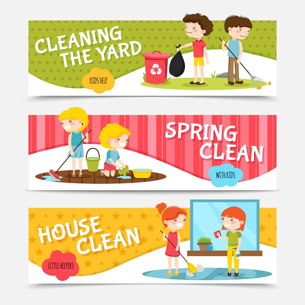 Colorful horizontal banners set with kids cleaning house and yard cartoon isolated vector illustrati Free Vector