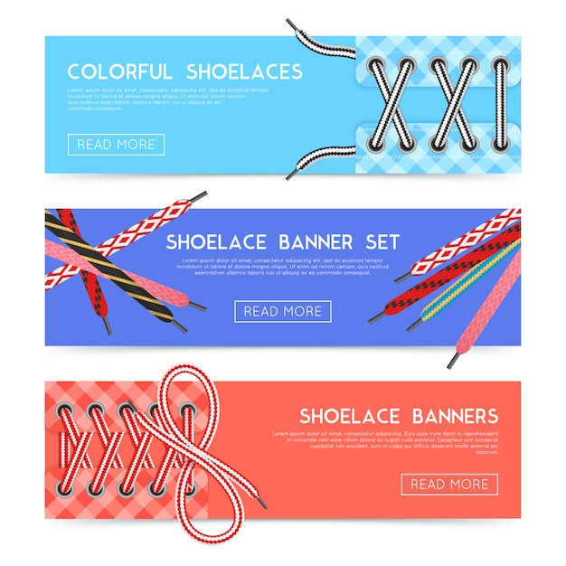 Colorful horizontal banners set with various shoelaces flat isolated vector illustration Free Vector