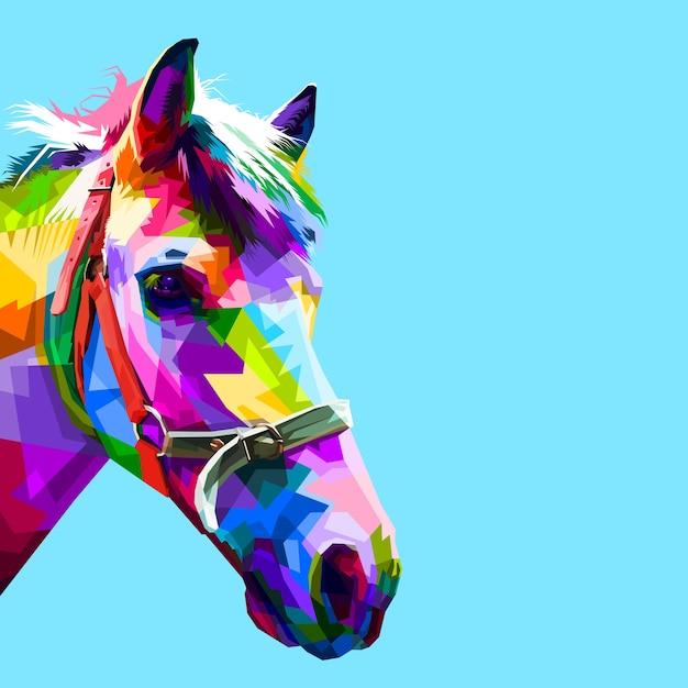 Colorful horse head in geometric pattern pop art style Premium Vector