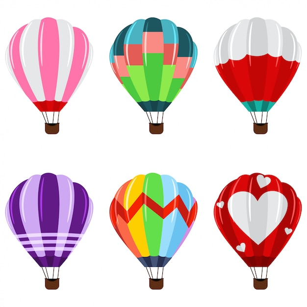 Colorful hot air balloons with basket icons set. Premium Vector
