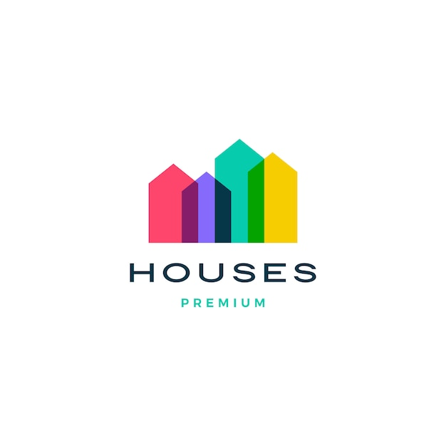 Colorful house home mortgage roof architect logo Premium Vector