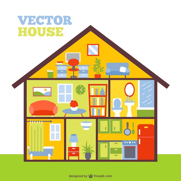 Colorful house in a cut Free Vector