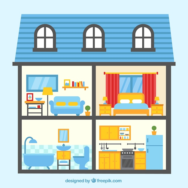 Colorful House With Four Rooms Free Vector