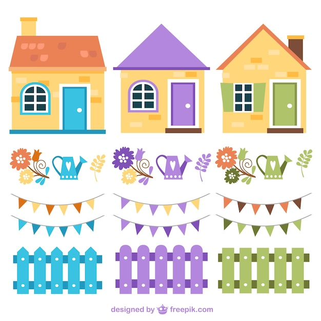 Colorful houses and fences Premium Vector