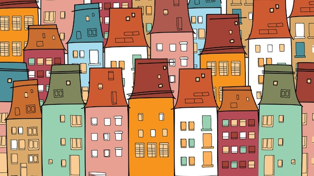 Colorful houses old vintage town thin line village Premium Vector