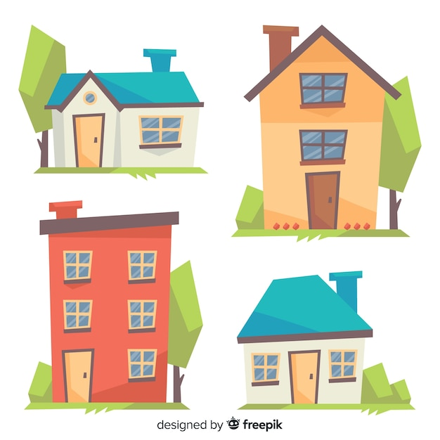 Colorful housing collection with cartoon style Free Vector
