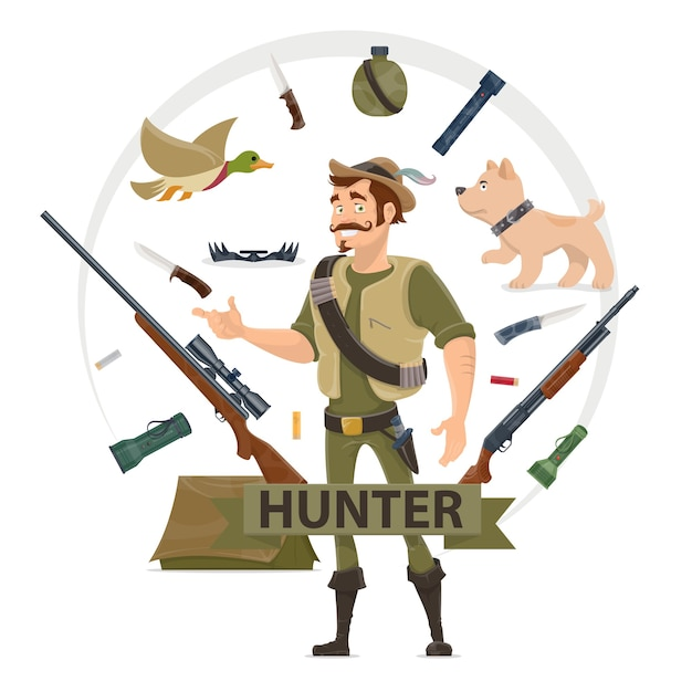 Colorful hunting elements concept Free Vector