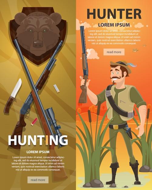 カラフルな狩猟垂直バナー 無料ベクター