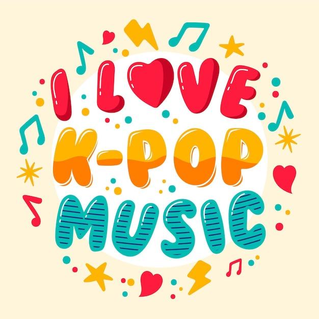 Free Vector I Love K Pop Music Lettering