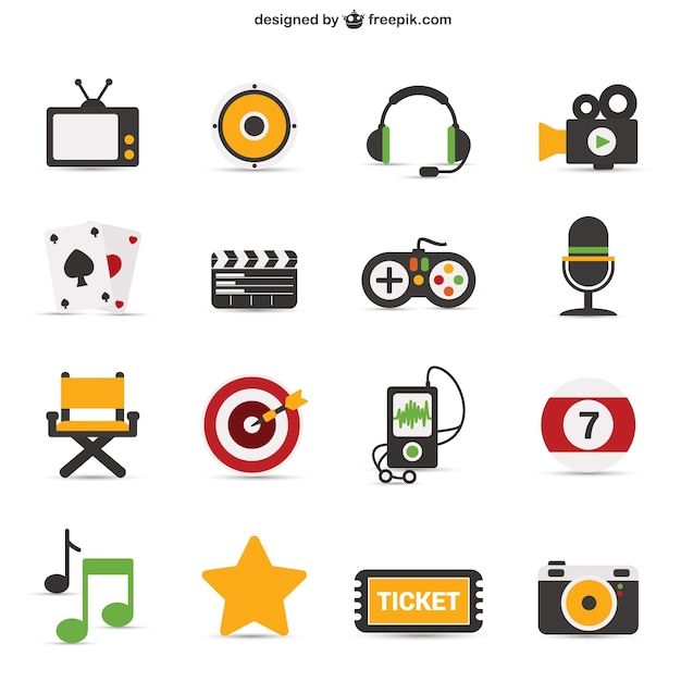 Colorful iconic objects Free Vector