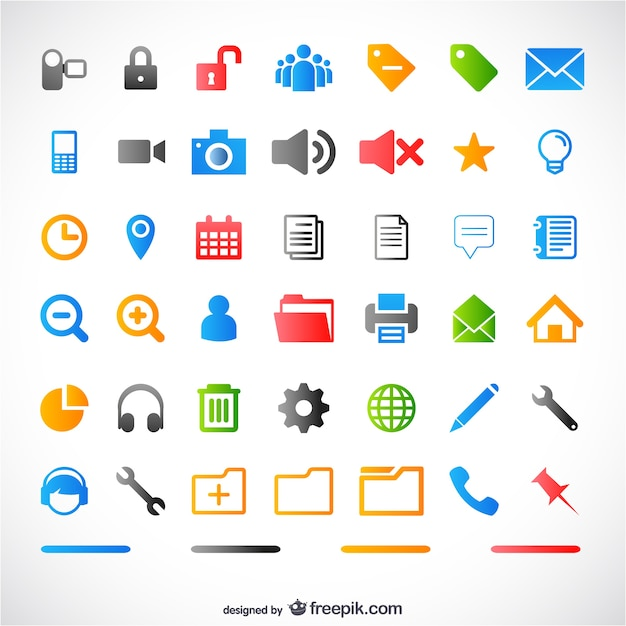 Colorful icons for web Free Vector