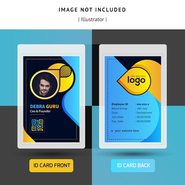 Colorful identification or id card template design for office Premium Vector