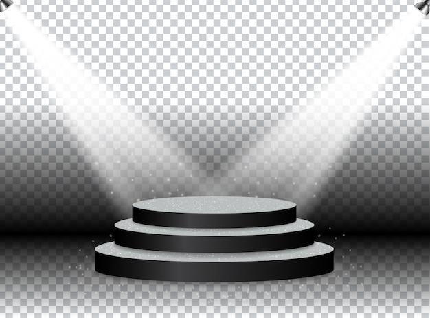 Colorful illuminated podium for awards and performances illuminated by bright spotlights. Premium Vector