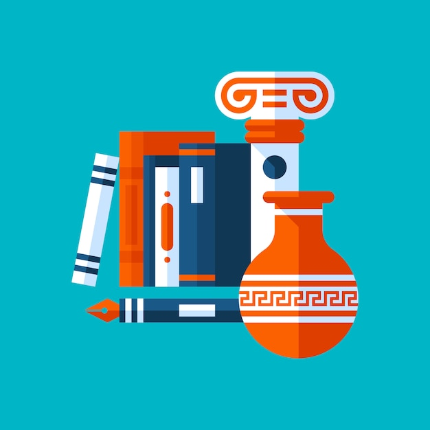 Colorful illustration about history. books, ancient column, vase. Premium Vector
