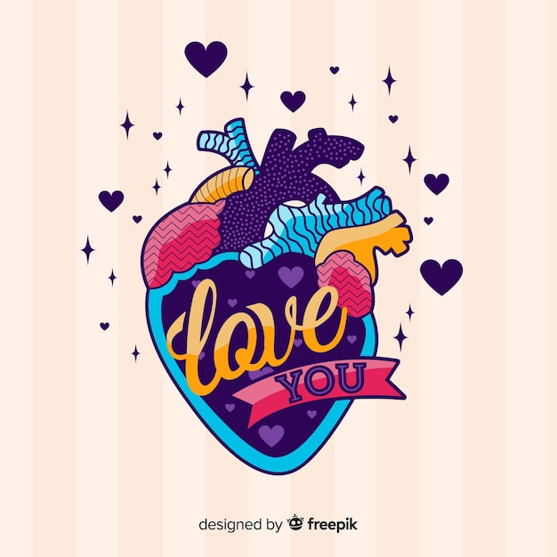 Colorful illustration of hurt with love message Free Vector