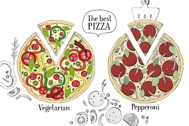 Colorful illustration of italian pizza. hand drawn vector food illustration. Premium Vector