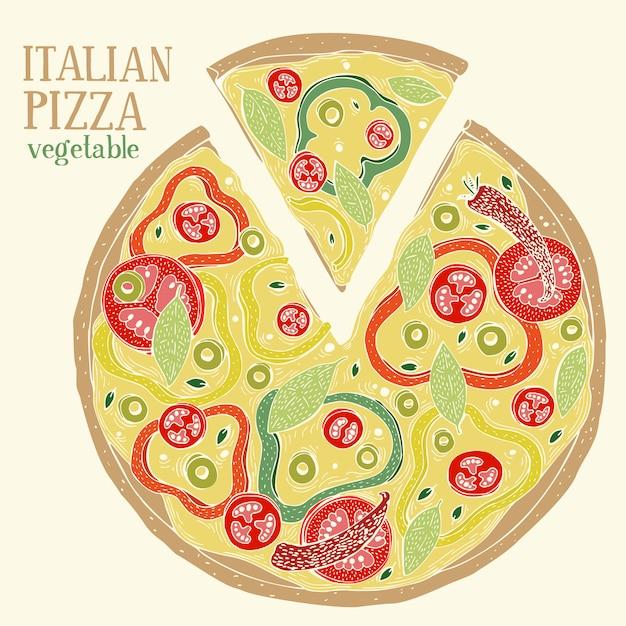 Colorful illustration of italian pizza pepperoni. hand drawn vector food illustration. Premium Vector