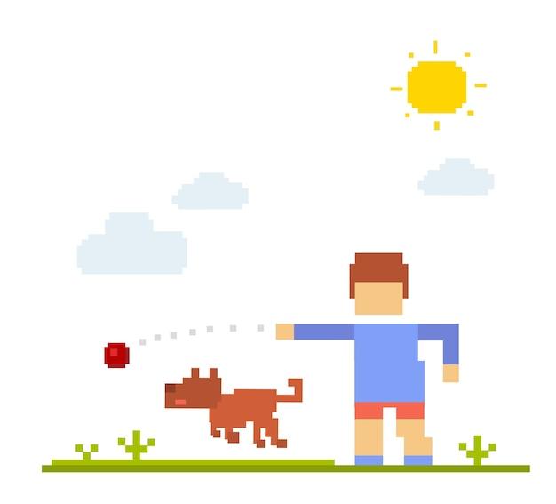 犬と少年のカラフルなイラスト。白い背景での幸せな友達。子供が歩いて、屋外の犬と一緒にボールをプレーします。犬との友情のレトロなピクセルアート Premiumベクター