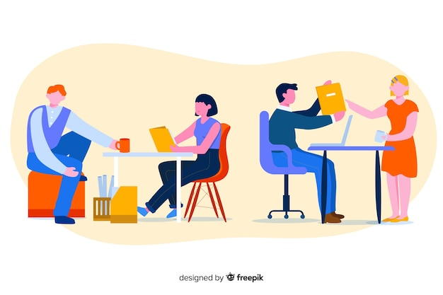 Colorful illustration of office workers sitting at desks Free Vector