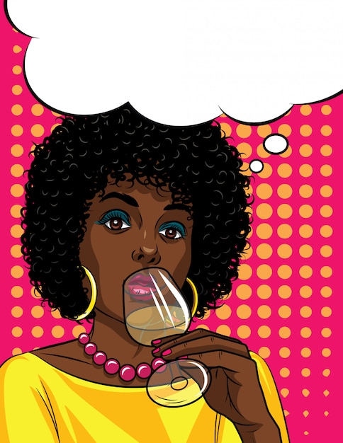 Colorful illustration in pop art style of beautiful african american woman drinking an alcohol . fashionable woman holding glass with alcohol in her hand Premium Vector