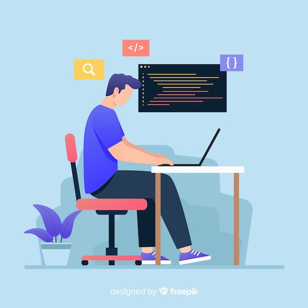 Colorful illustration of programmer working Free Vector