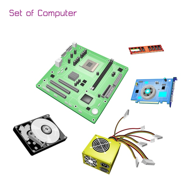 Colorful illustration set of desktop computer equipment Premium Vector