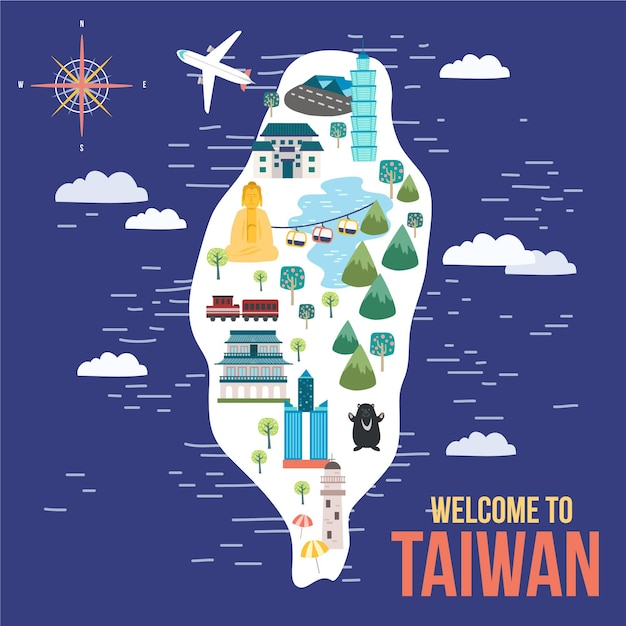 Colorful illustration of taiwan map with landmarks Free Vector