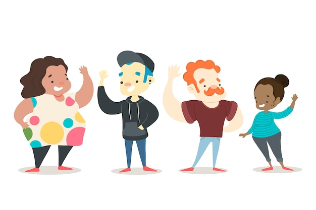 Colorful illustration with people waving Free Vector