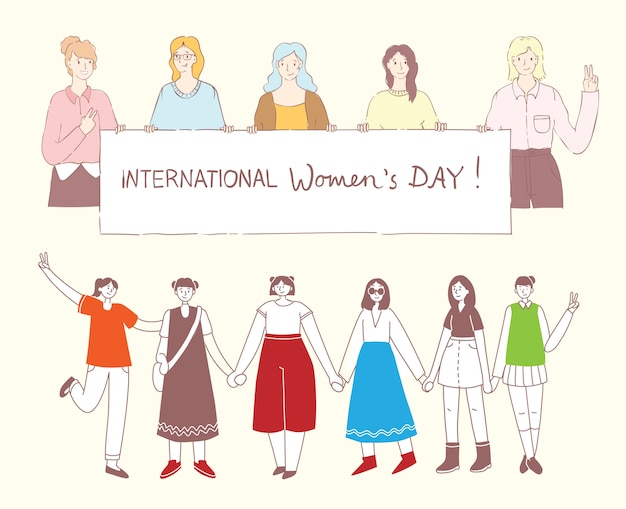 Colorful illustrations concept of happy woman's internarional day . happy female friends, union of feminists, sisterhood holding the placard in flat design Premium Vector