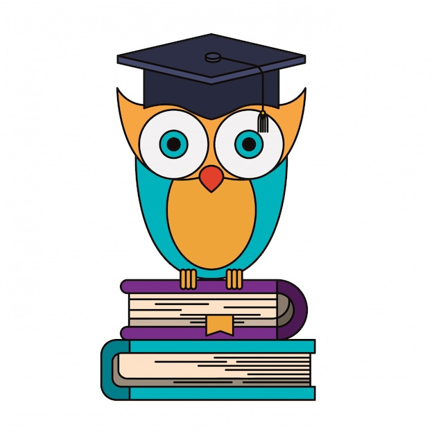 Colorful image of owl knowledge with cap graduation on stack of books Premium Vector