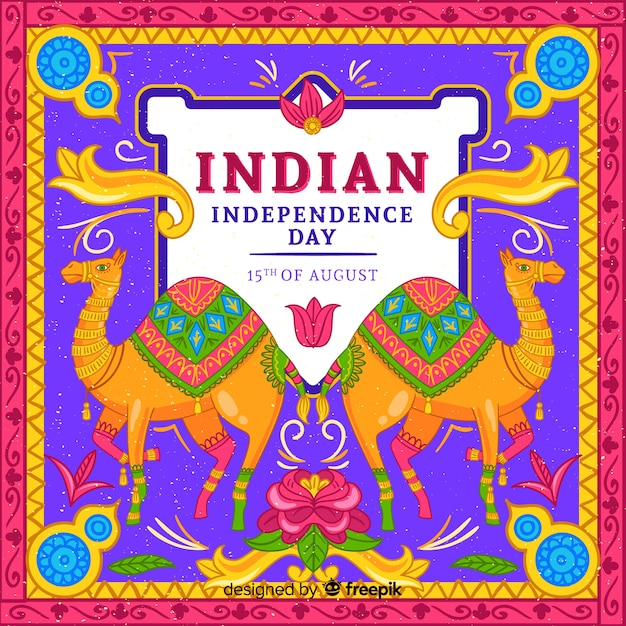 Colorful independence day of india background Free Vector