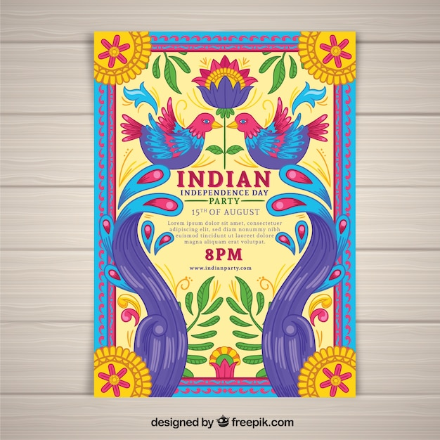 Colorful independence day of india poster Free Vector