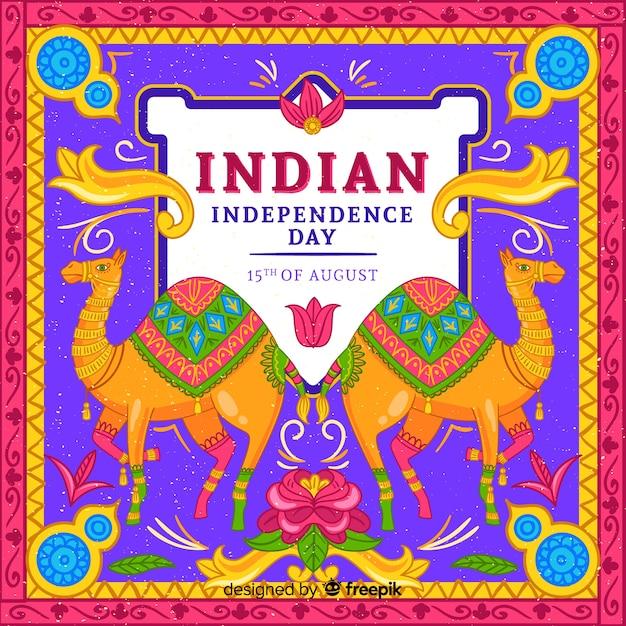 インドの背景のカラフルな独立記念日 無料ベクター