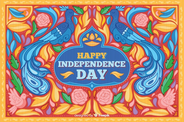 Colorful indian independence day background Free Vector