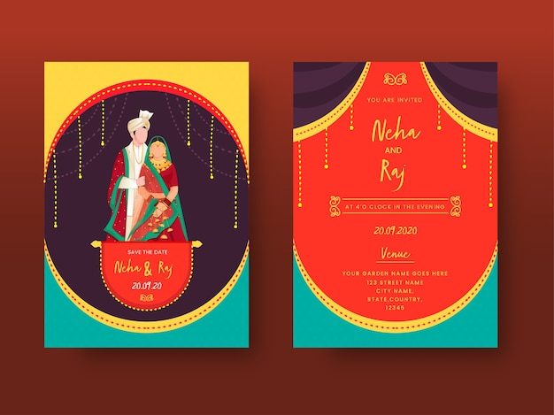Colorful indian wedding invitation card or template set with cartoon couple image and venue details. Premium Vector