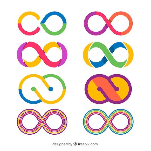 Collezione di simboli infiniti colorati Vettore gratuito