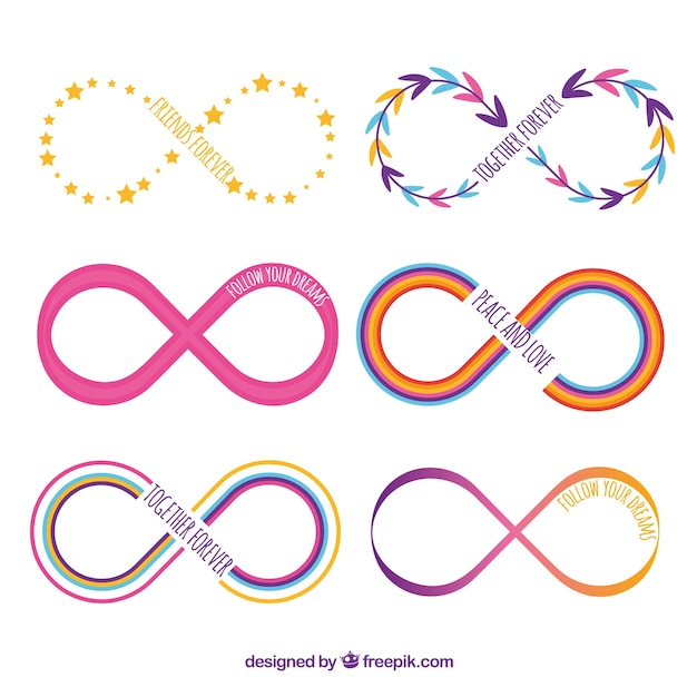 Colorful Infinity Symbol Collection With Flat Design Vector Free