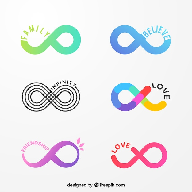 Colorful infinity symbol collection Free Vector